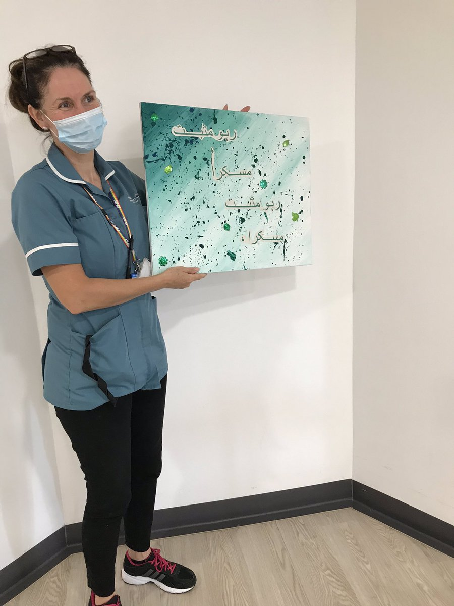 Our activity coordinator Julie has started making these amazing pictures with patients for the ward. This picture says 'keep positive keep smiling' in Urdu ☺️ https://t.co/6Cqe48Qalm