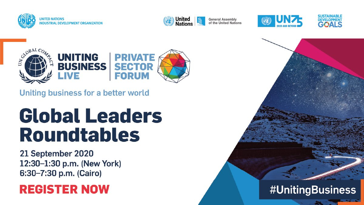 The @globalcompact Roundtables at #UNGA75 will provide a platform for CEOs & @UN principals to engage in high-level discussion on strengthening global coop; inclusive multilateralism; peace & justice; human & labour rights 💙🌍  Register: https://t.co/prbruFJ7we  #UnitingBusiness https://t.co/oxeP54JaZR