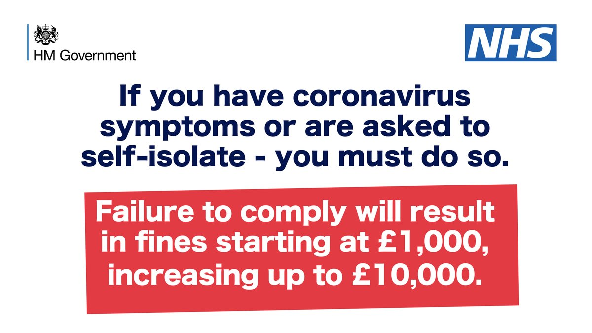 From 28 September, if you have coronavirus symptoms or are asked to self-isolate, you will be legally obliged to. There will be more frequent checks and tougher penalties for breaking the rules with fines starting at £1,000, increasing up to £10,000. gov.uk/government/new…