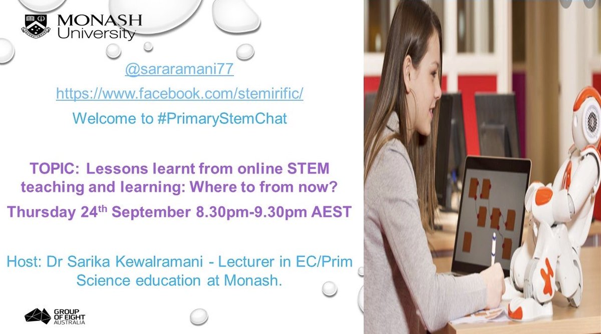 Where to from now?🧐 Join #PrimarySTEMChat this week to chat 'Lessons Learned From Online #STEM Teaching & Learning' with @sararamani77 as guest host.🤩@emilyemmaross @michelledennis @steven_kolber @EvaHartell @JesseChambers_ @SmilesStephi @deb_k_alex @CatRoyans @EmpowerDigiTech https://t.co/m7vnddbMk7