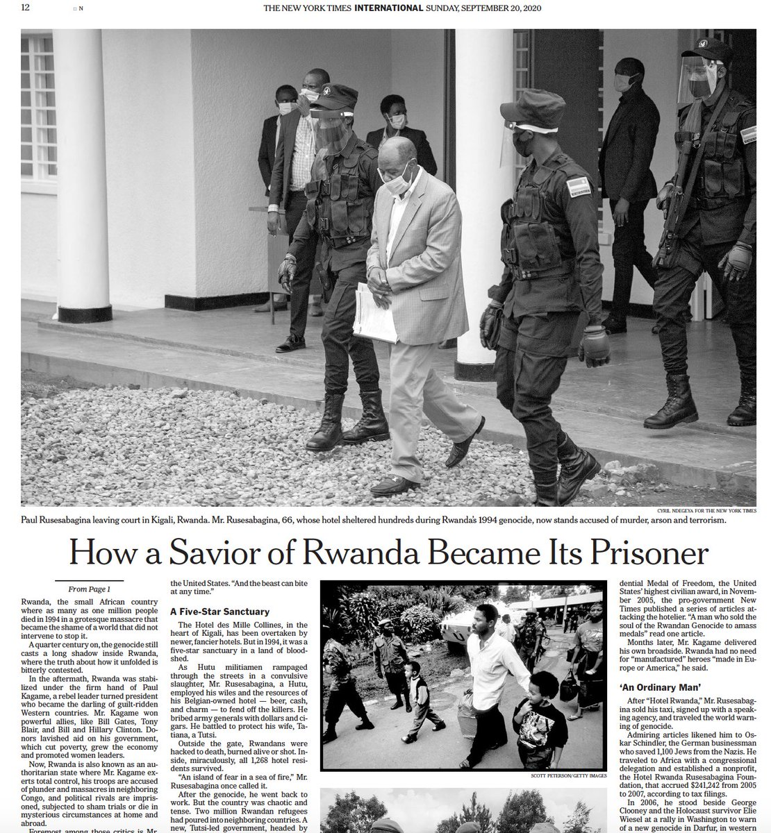 The result is a story about the unlikely trajectory of Paul Rusesabagina, but also about fear and loathing in Kagame's Rwanda, and the bitter battle of narratives that endures a quarter century after the genocide.   You can read it in today's @nytimes  https://t.co/oFEPNNGWzY https://t.co/A0lWLBQmX4