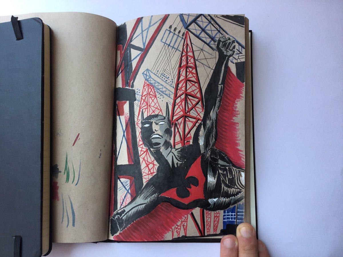 Ayer por el #DiaDeBatman me di el gusto de dibujar a #BatmanBeyond  #BATMANDAY2020 #BatmanDay #sketch #sketchbook #ink https://t.co/eugWc9USdU