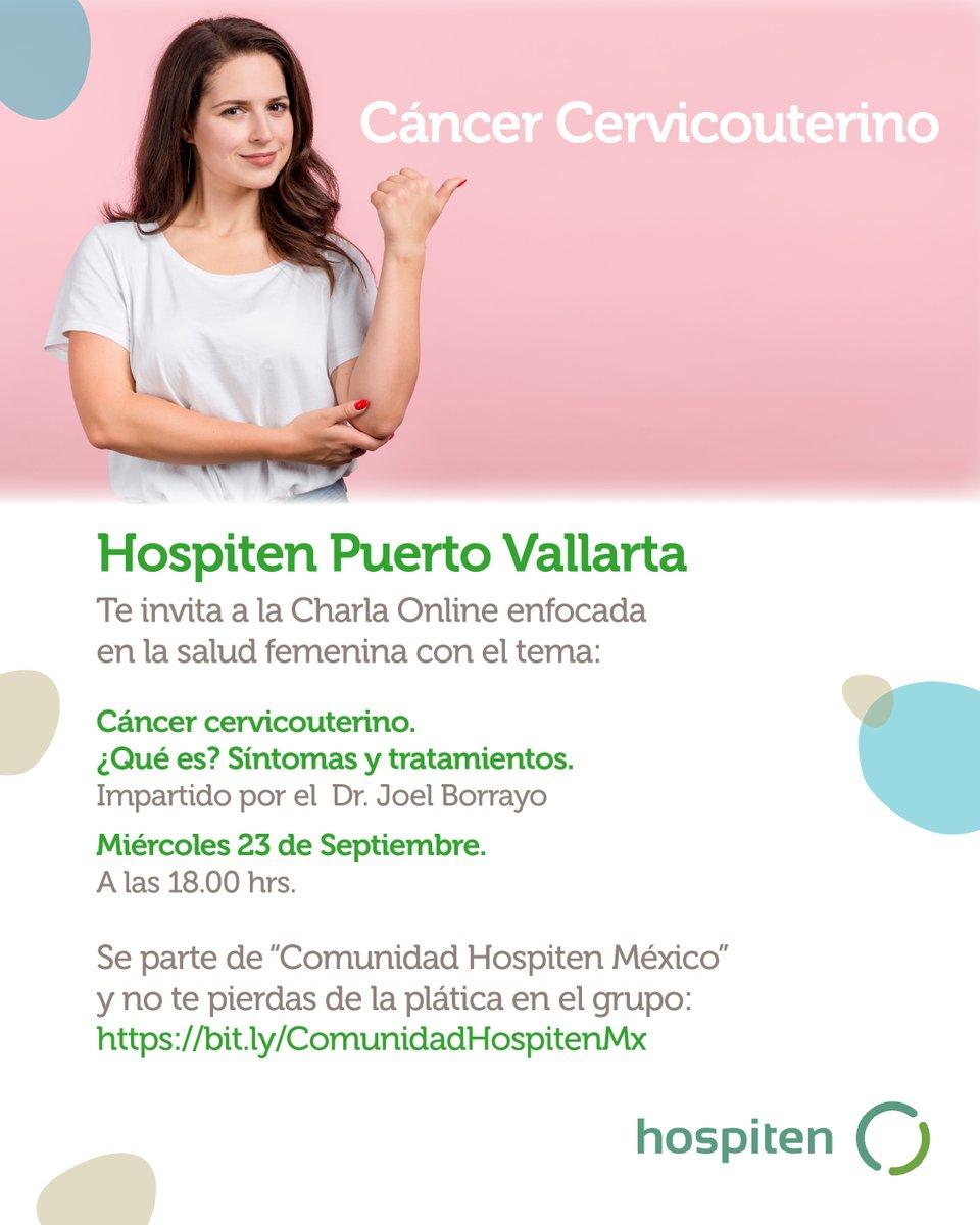 """#GrupoHospiten te invita a la charla GRATUITA. #HospitenPuertoVallarta con el tema: """"#Cáncer #Cervicouterino, ¿Qué es? #Síntomas y tratamientos"""". 👉Miércoles 23 de Septiembre,  a las 18:00 hrs. Acompáñanos en la transmisión en vivo en 👉👉https://t.co/BuC5pYiEBV #Saludfemenina https://t.co/wBnn35cfVe"""