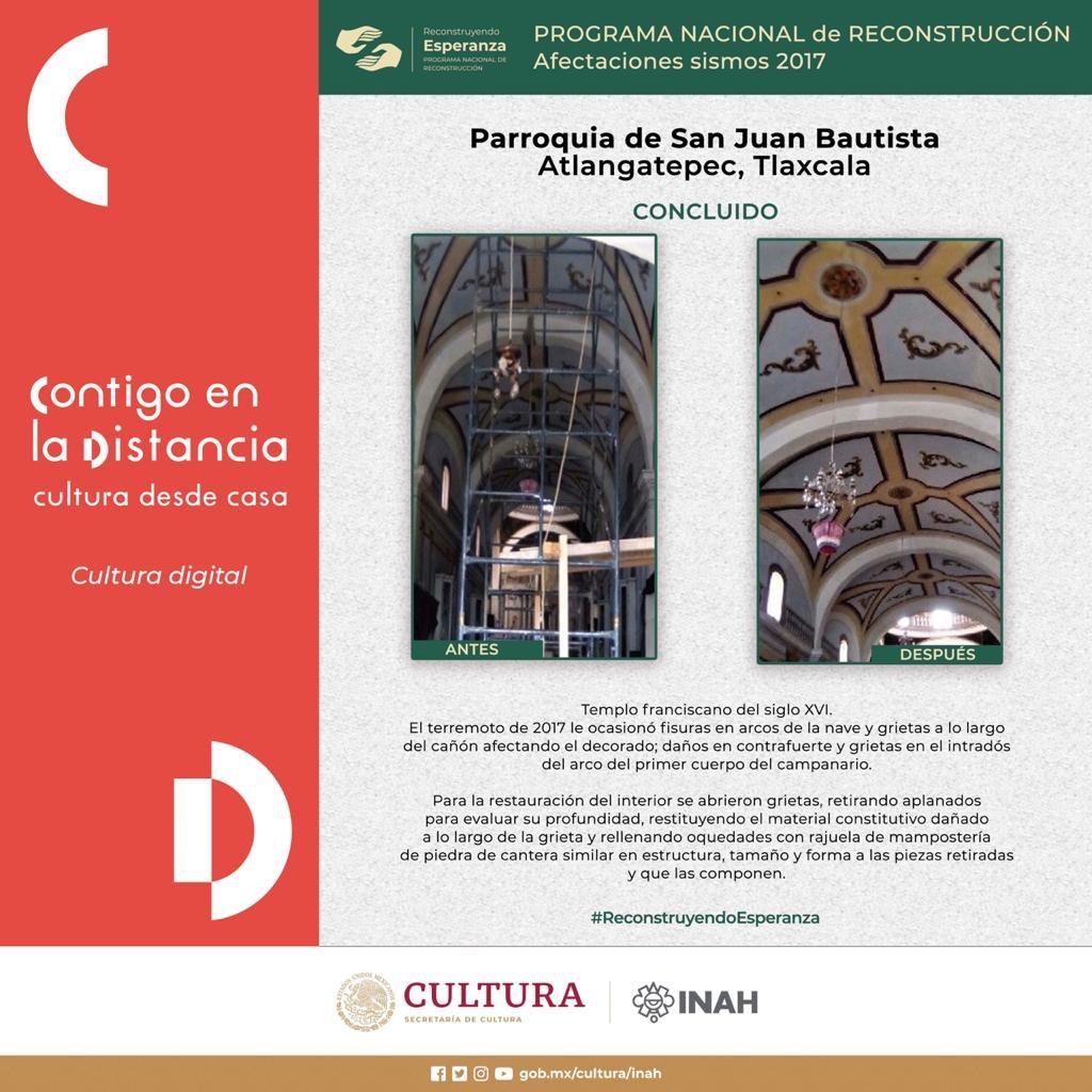#ReconstruyendoEsperanza en Atlangatepec, Tlaxcala  🏗  🔶 Antes y después de la Parroquia de San Juan Bautista. https://t.co/iruaI31BNj