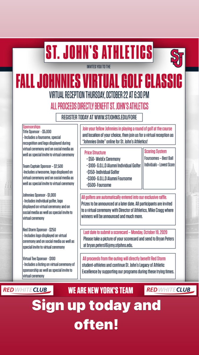 Every Friday up to reception on 10/22, there is a special raffle of @StJohnsRedStorm prizes to those who signed up to support the #VirtualGolfOuting. The more times you register, your chances improve to win! #sjubb #wearenewyorksteam #wearestjohns #expecttowin #everygiftcounts