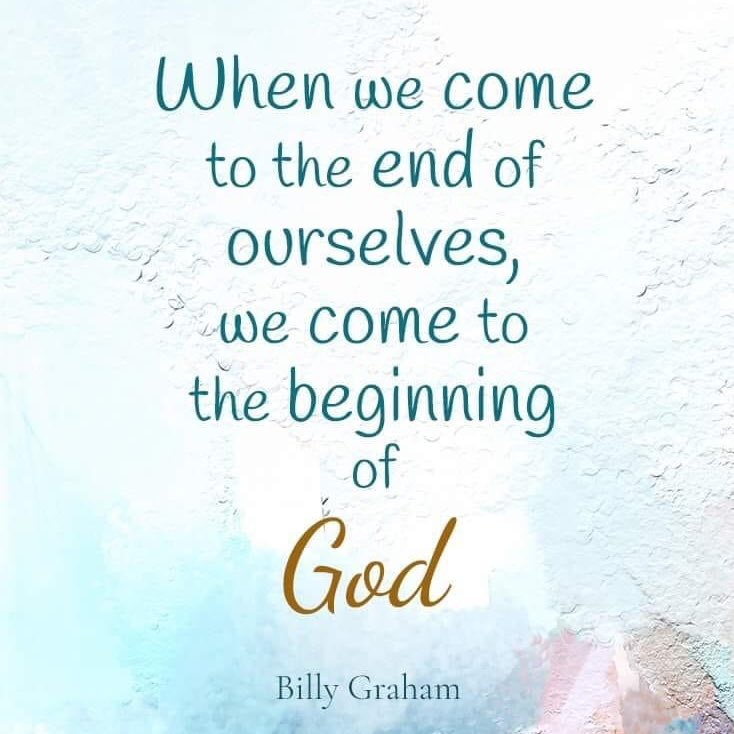 When we come to the end of ourselves, we come to the beginning of God. @pastors4txkids #SundayMorning