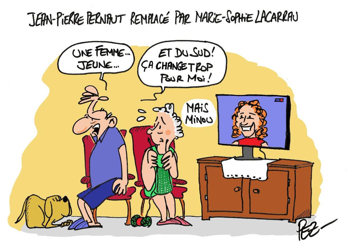 Le dessin du dimanche de @ladepechedumidi sur le départ annoncé de J-P. Pernaut #pernaut #TF1 #13h #13heures #JT13h #lacarrau #changement #dessin https://t.co/kgTYgi3wBf