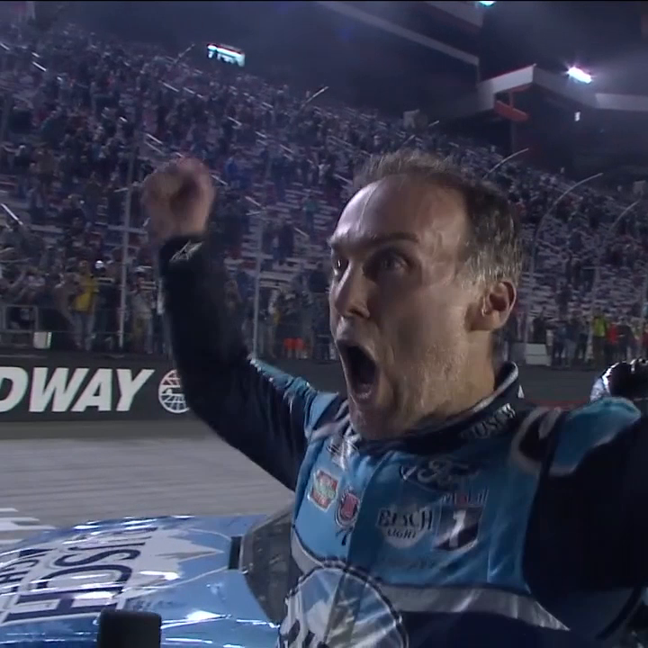Carl had his backflip. Rowdy has his bow. And @KevinHarvick has his victory woo.