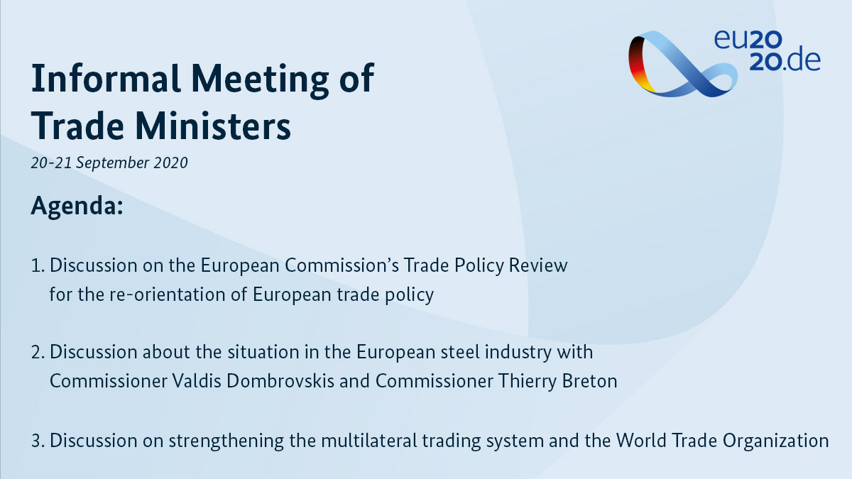 The Informal Meeting of EU Trade Ministers is starting in Berlin today, with most of the talks taking place tomorrow. Have a look at the agenda. @BMWi_Bund @peteraltmaier @VDombrovskis @ThierryBreton
