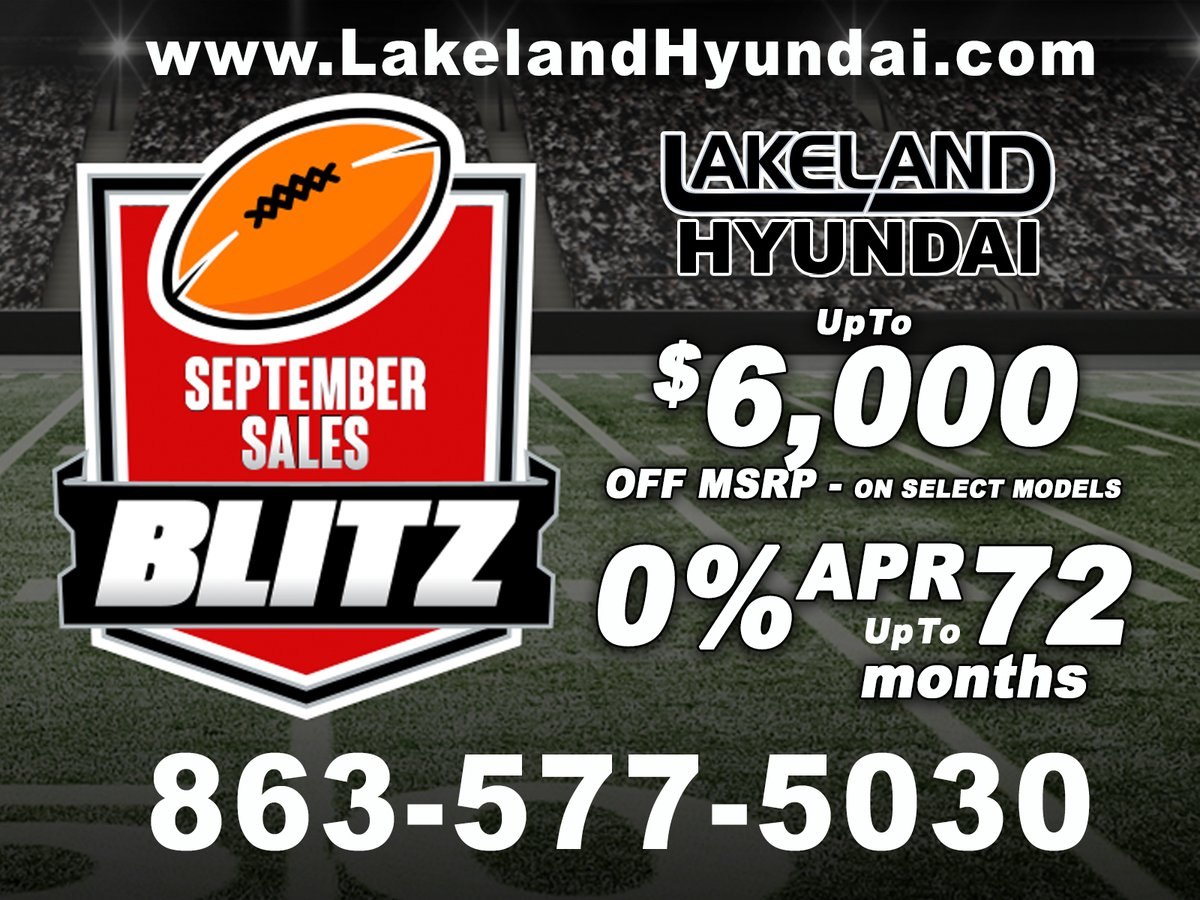 The Savings Are Here! #LakelandHyundai #SeptemberSalesBlitz can save you up to $6,000 off MSRP or get 0% APR for up to 72 months on select 2020 #Hyundai models including the #Sonata, #Elantra, #Kona, #SantaFe, #Tucson, #Palisade and more... It's Your Chance to #WinBig #GreatDeals https://t.co/jkkIE2ySI5