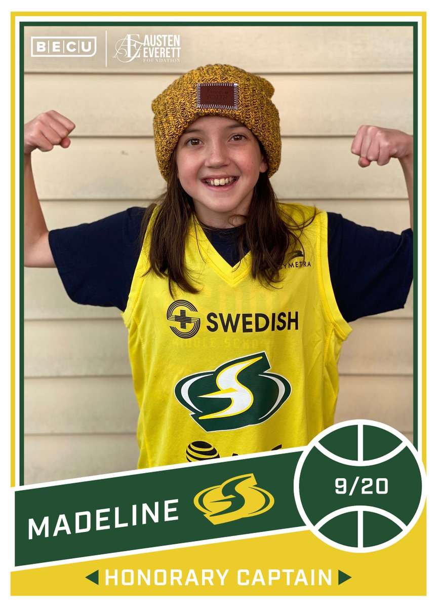 Meet Madeline, today's @BECU Honorary Captain for the #STORMvsLYNX! #StrongerThanEver @AustenEverettFD