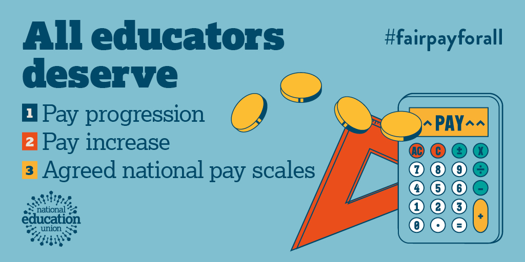 It is time for #fairpayforall educators.   See @NEUnion's campaign demands below👇   Join our campaign>> https://t.co/pQJyb49OMG https://t.co/UwLbmTvaZU