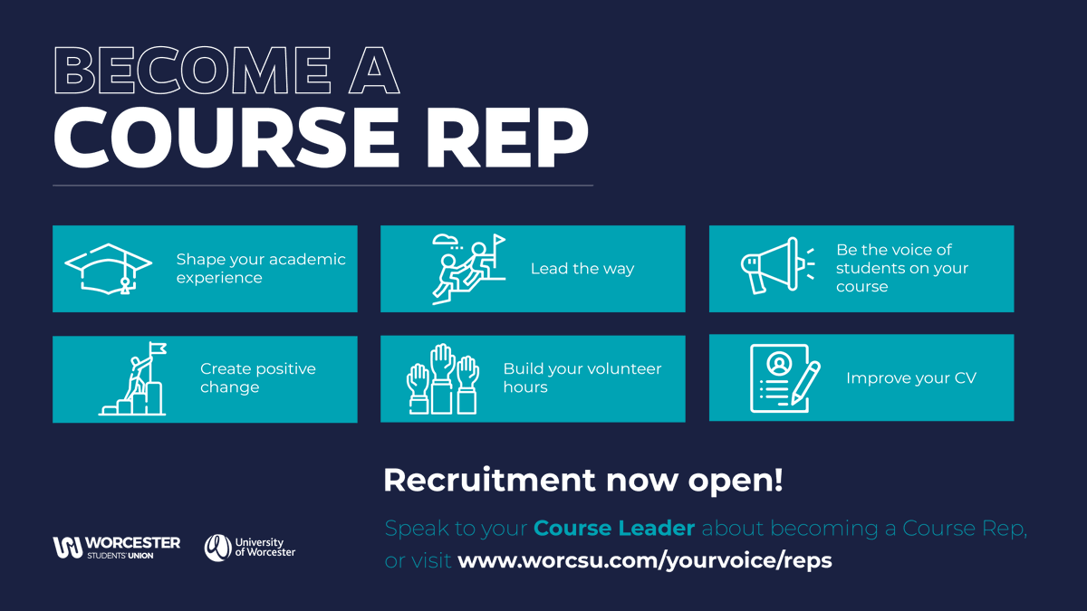 As a Course Rep, you're a voice for students on your course, representing their views/interests and improving the academic experience at @worcester_uni. Over the next few weeks, your Course Leader will be telling you more about the role and how to get involved, so stay tuned! 💬 https://t.co/zUyE5lkSxP
