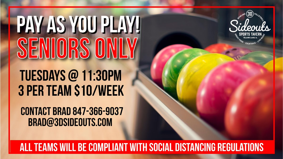 Pay as you play! Get out and enjoy the day!  #sideouts #sideoutssportstavern #bowling #bowlingleagues #signup #seniorleagues #3dbowl #tuesdays #payasyouplay #socialdistancing https://t.co/DWtU5N8HvG