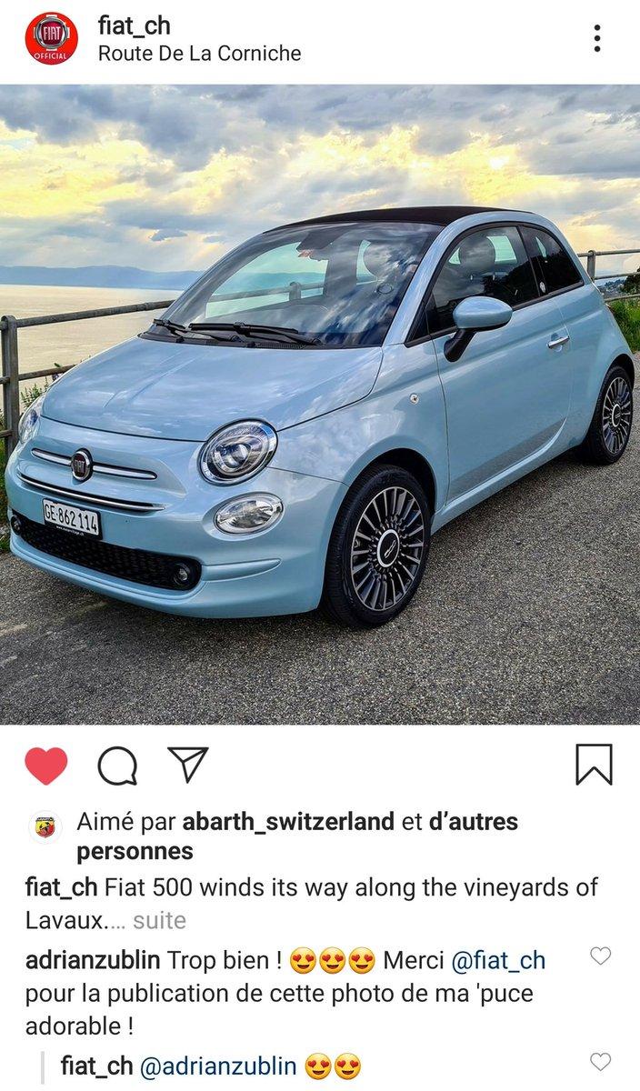 Quand @FiatSchweiz te fait une très jolie surprise dominicale sur Insta. J'en suis ravi ! 🙂😍🙂 #Fiat #Fiat500C #Fiat500Hybride #New500 #Pure500 #FiatElectric #InspiringChange #500electric #Vaud #Lavaux https://t.co/l1rl1us3cE