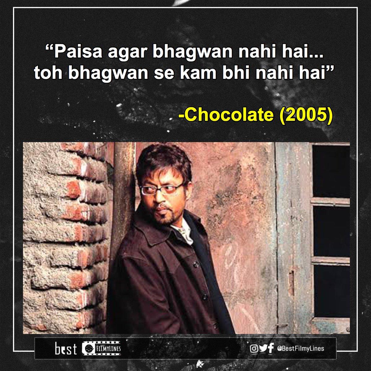 -Chocolate (2005), dir. Vivek Agnihotri  #IrfanKhan #IrrfanKhan #VivekAgnihotri #bollywood #bollywoodmovie #bollywoodmovies #bollywooddialogue #indiancinema #hindi #hindimovie #dialogue #dialogues #quote #quotes #bestfilmylines https://t.co/3flWTCu6dM
