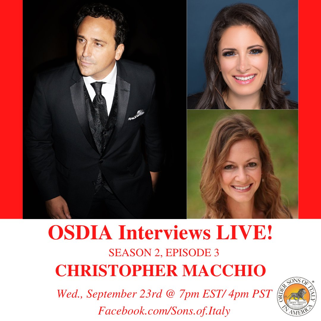"""Join us for the next episode of """"OSDIA Interviews LIVE!"""" on Wed. (9/23) at 7pm EST/4pm PST on Facebook Live with world renowned tenor and member of The New York Tenors, @MacchioTenor!  #OSDIA #SonsOfItaly #ItalianPride #Italian #Italiano #Italy #Italia #ChristopherMacchio https://t.co/KqIi97RSQ7"""