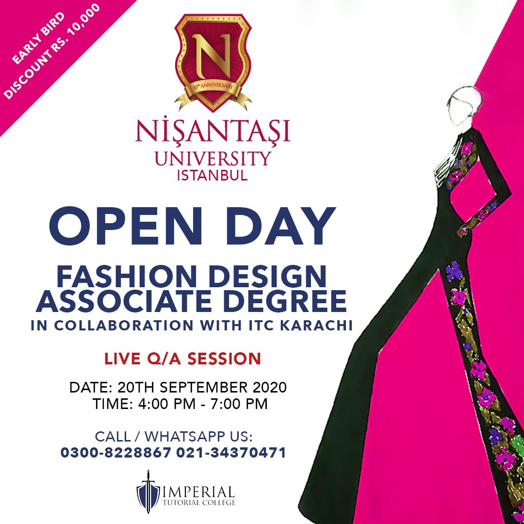 Karachi, are you ready for us? Nisantasi University is delighted to offer an external program for Associate Degree in Fashion Design at ITC, Karachi. #ImperialTutorialCollege @imperialcollegepk https://t.co/HXv5j1oDeQ