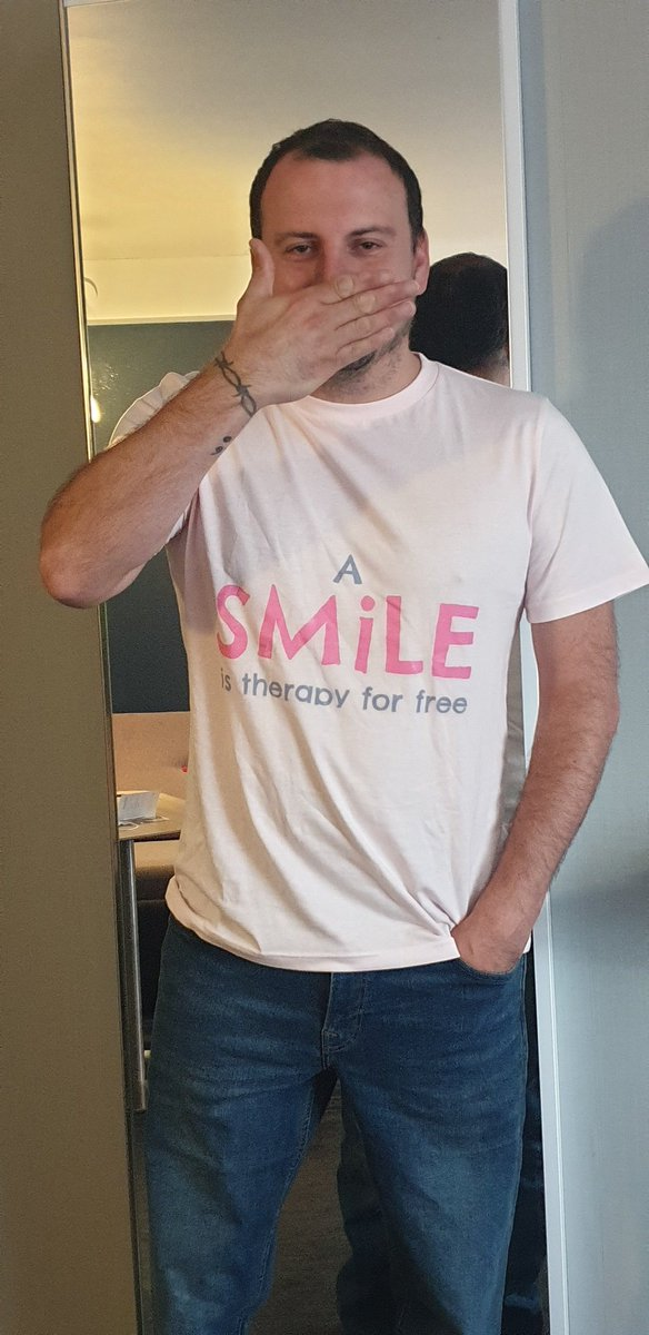 Stand - or sit - with me to support CALM, The Campaign Against Living Miserably. Get your own t-shirt at https://t.co/luEG2UkBc0 and help to #FindYourSmile!  All sales from the SMiLE collection go towards supporting CALM, The Campaign Against Living Miserably https://t.co/4PFe0wofaj