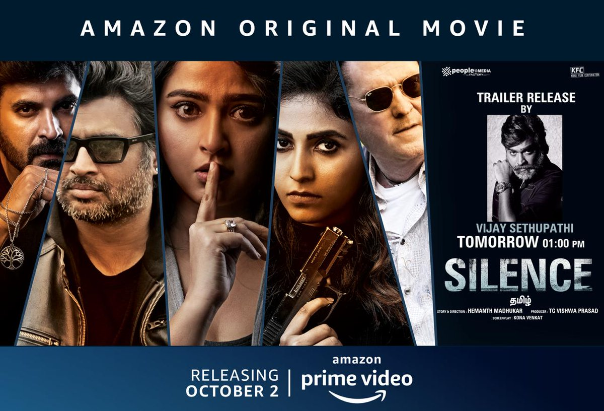 .@VijaySethuOffl will unveil the Tamil trailer of #Silence Tomorrow 1PM #SilenceOnPrime premieres Oct 2 in Telugu & Tamil with dub in Malayalam @PrimeVideoIN  @ActorMadhavan #AnushkaShetty @yoursanjali @actorsubbaraju #ShaliniPandey @hemantmadhukar  @ggirishh @lyricistkaruna #NM https://t.co/ZIxCpwl0OO