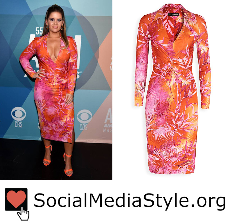 Buy @MarenMorris' @Versace pink and orange tropical print dress from the 2020 #ACMawards here: https://t.co/kGZIhXTF2p #MarenMorris #ACMAwards #orangedress #pinkdress #tropicalprint #tropicalprintdress #plungingdress #Versace https://t.co/fgNrx3NMLD