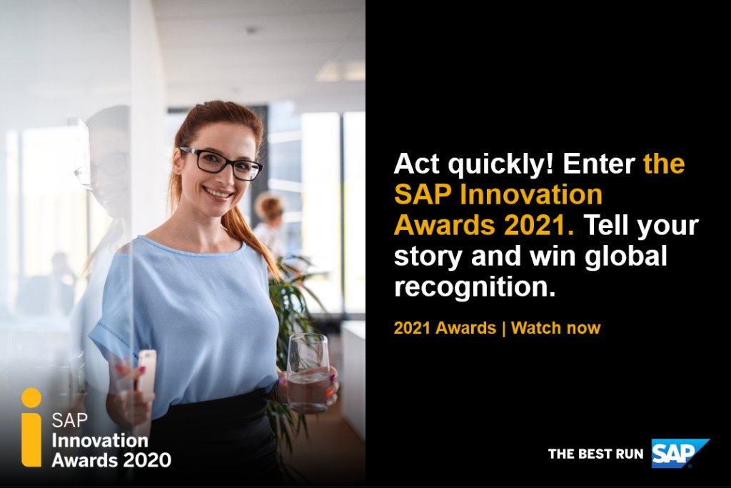 Using SAP technology to disrupt, transform, or accelerate business? Tell the world your #SAPinnovation story. Enter the SAP Innovation Awards 2021. Watch the video for details: https://t.co/WEvstfUcSq #insurance https://t.co/UWZ4sIJBGb