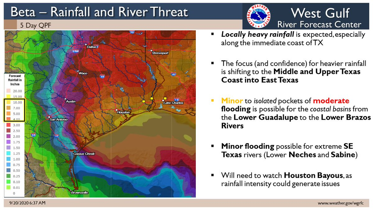 Beta continues to pose a threat to the Texas Coast. Heavy rainfall is possible along the coast, and into East TX. Very heavy rain along the coast could generate local flooding. Be flood prepared! #txwx #txflood