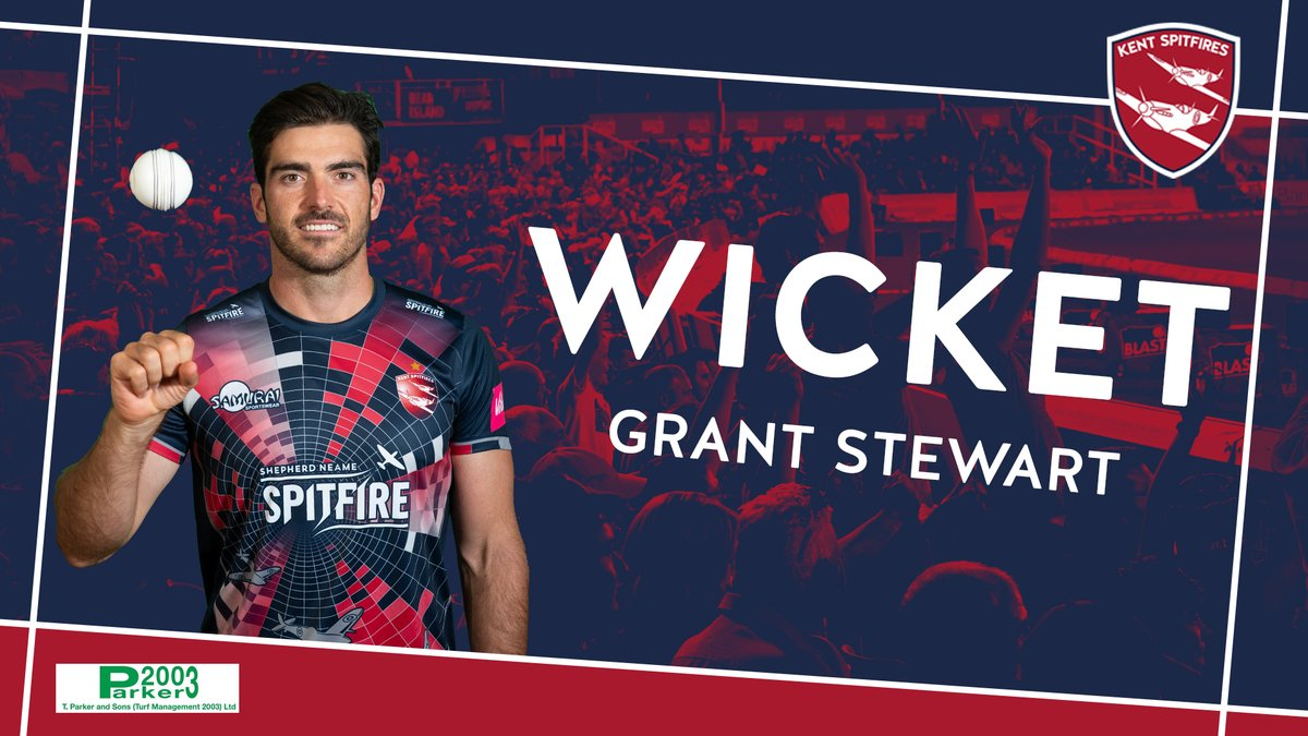 Two in two! 🙌  @GStewart195's on a hat-trick! Burns edges behind to @sambillings - Surrey are now 148/3  LIVE Match Centre ➡️ https://t.co/lzn78Xxjg5 #SuperKent https://t.co/UgkV9mdKaf