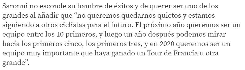 #TdF2020 Carlo Saronni, director operativo del @TeamUAEAbuDhabi, avisó a finales de 2017: