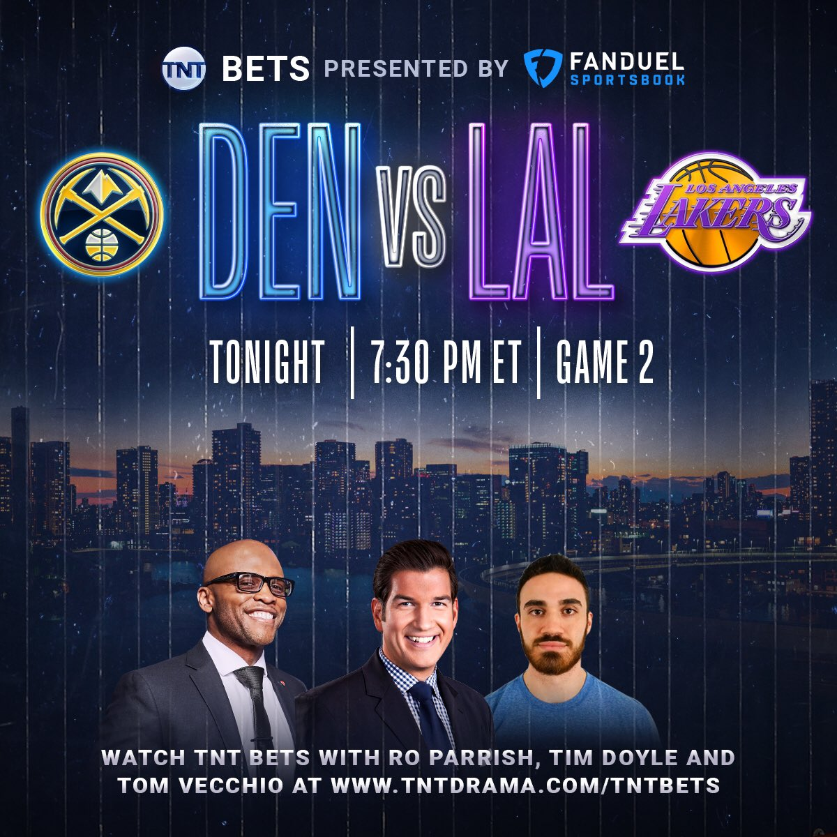TNT Bets Simulcast will be live for every WCF game 🤑  @RoParrish @DFS_Tom and myself will present alternate commentary centered around betting analysis and odds in partnership with @FDSportsbook during the WCF. Tune in for LAL-DEN Game 2 tonight at 730pm: https://t.co/pKgHzCp51y https://t.co/S4eCgZ0XON