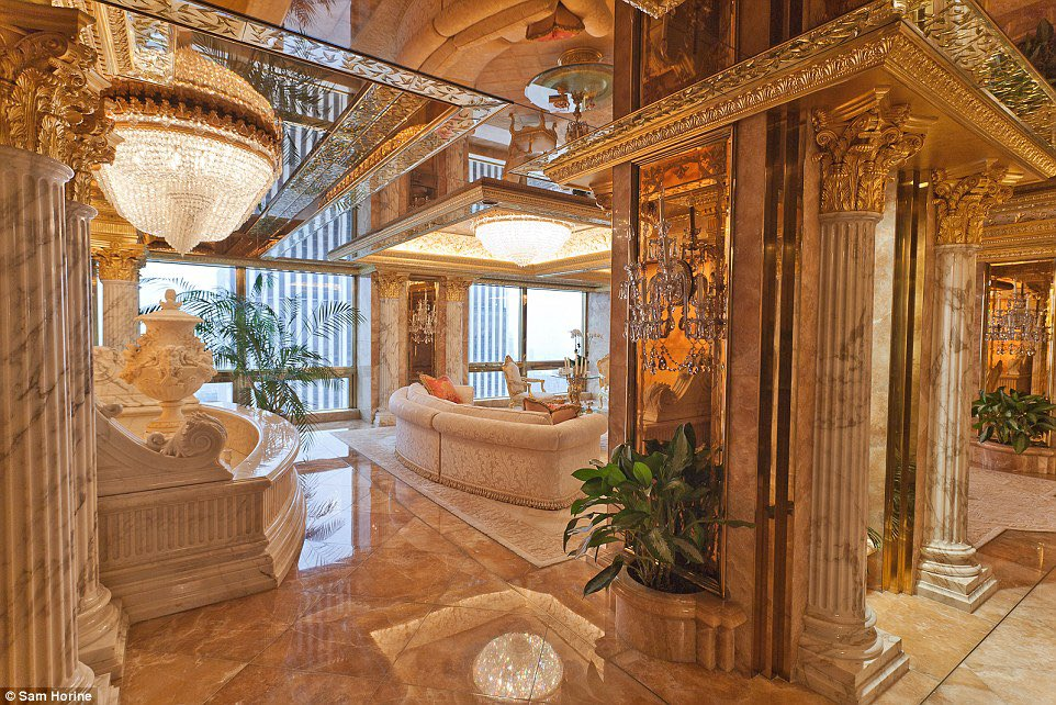 Attention Trump supporters: Trump is an elite. This is how he chose to decorate his home. Gilt,gold,mirrors. He doesn't see you, he uses you. https://t.co/Ti6gVLL3zA