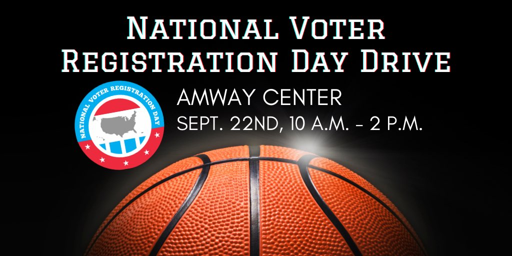 Need to register to vote? Join us on Tuesday, Sep 22 from 10 am to 2 pm for our National Voter Registration Day Drive! With appearances by @OrlandoMagic players and coaches, the event is free and open to all Florida residents registering or checking their registration status. 🗳 https://t.co/IbXkggZzEs