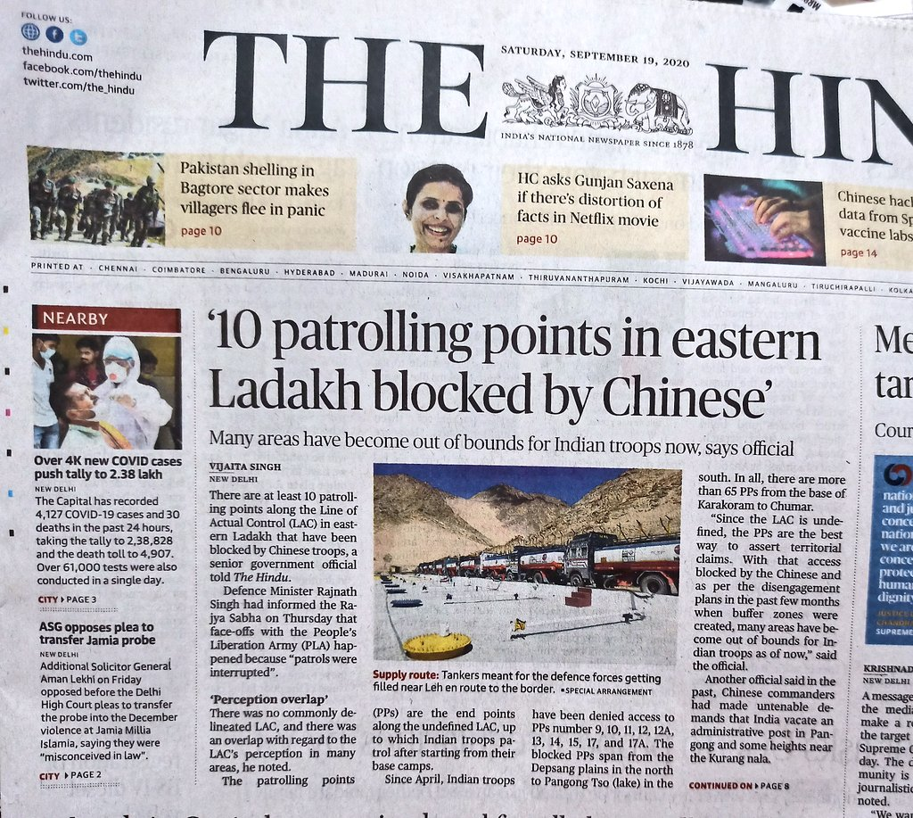 A day after The Hindu report, follow up reports in IE and Dainik Bhaskar. China has blocked at least 10 patrolling points  in Eastern Ladakh. #LAC https://t.co/Gx35MgkDsK https://t.co/LJNeP39UvB