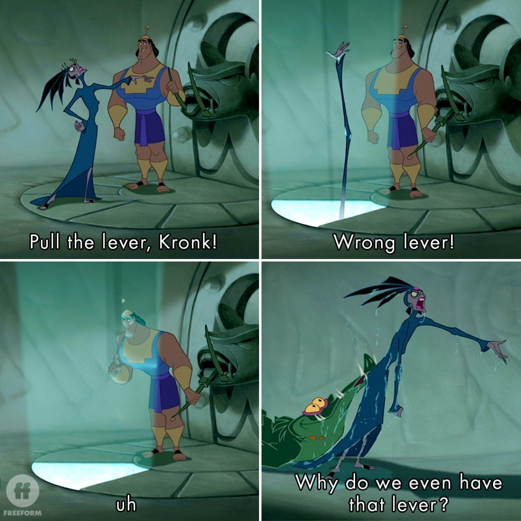Pro tip: Label your levers ___________ Watch our favorite Himbo in Emperor's New Groove at 1:05p|12:05c