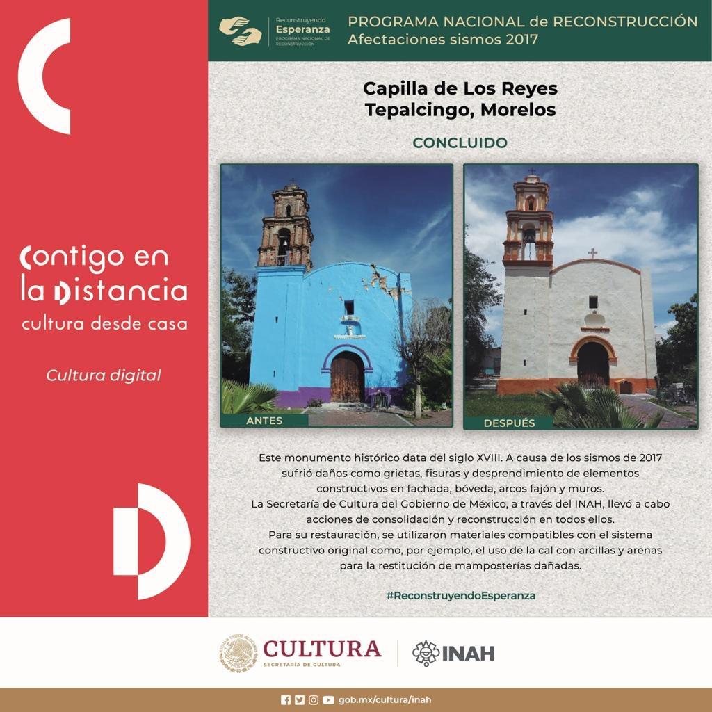 #ReconstruyendoEsperanza en Tepalcingo, Morelos 🏗  🔶 Antes y después de la Capilla de Los Reyes. https://t.co/pMpz6bUNkP