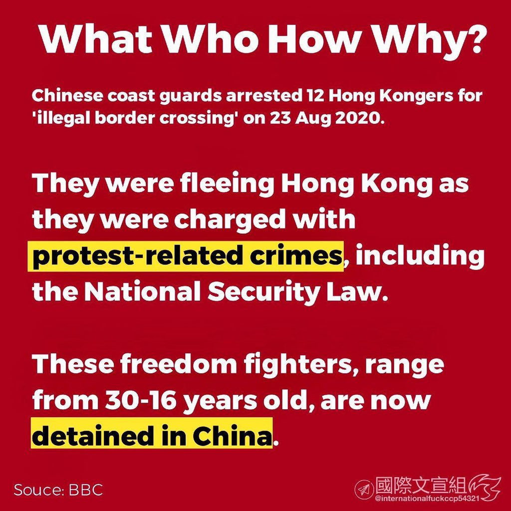 @KenRoth Please help them to come back. It is never wrong wanting freedom and democracy in our lives. With no lawyers allowed to meet them during their 29-day detention, their situation is really worrying. #save12hkyouths https://t.co/2Z9BbbWt4c