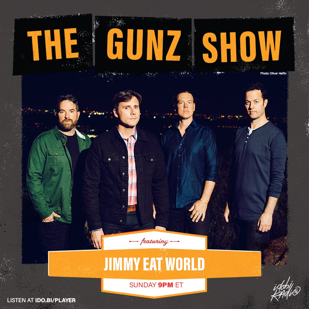 Before yall go off on your football Sunday.  Don't forget I have an exclusive interview with one of the best - @JimmyEatWorld is on @TheGunzShow tonight  We talk literally everything and I'm so pumped how it went   Listen live 9pm on @idobiradio  The Gunz Show on Spotify / iTunes https://t.co/M3jNf3lkf7