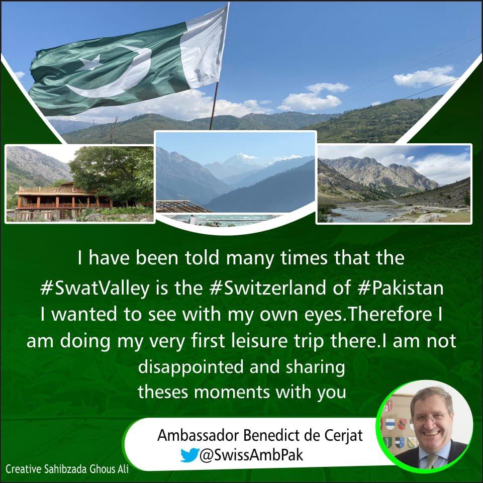 Think Tourism, Think Khyber Pakhtunkhwa, Think Pakistan 🇵🇰  @SwissAmbPak Benedict de Cerjat praising the beauty of Swat during his visit to Swat (The #Switzerland of #Pakistan) https://t.co/Rh826B0ckj