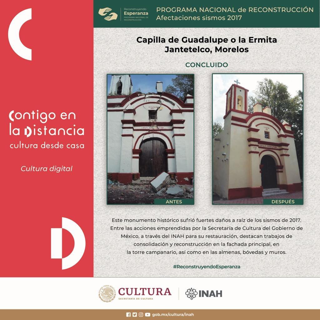 #ReconstruyendoEsperanza en Jantetelco, Morelos 🏗  🔶 Antes y después de la Capilla de Guadalupe. https://t.co/7E1Dwb3OS2