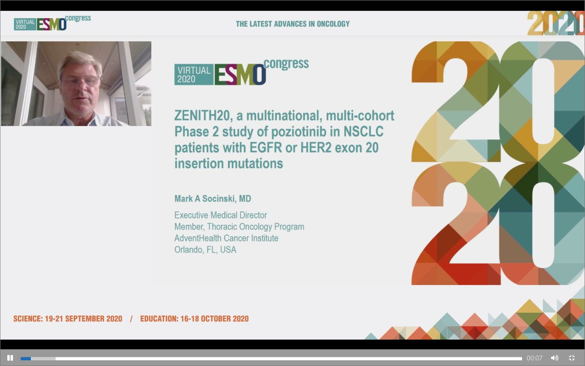 #ESMO20 Update on poziotinib in #HER2 mutant #NSCLC by Mark Socinski from the ongoing phase II ZENITH20 study. #LCSM @OncoAlert @AdventHealth https://t.co/kJwUcSqEDH