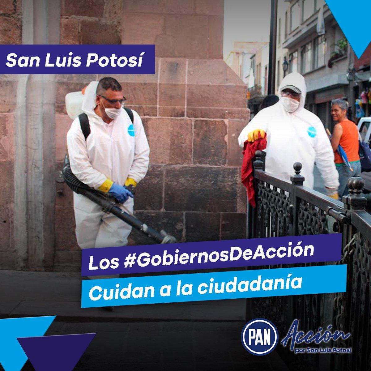 Los #GobiernosDeAcción se preocupan por sus ciudadanos y ciudadanas🙌🔵  En San Luis Potosí nuestros gobiernos panistas cuidan la salud de las y los potosinos desinfectando espacios públicos por el bien de todos y todas. 🙌🔵 https://t.co/KYufqs4GBS