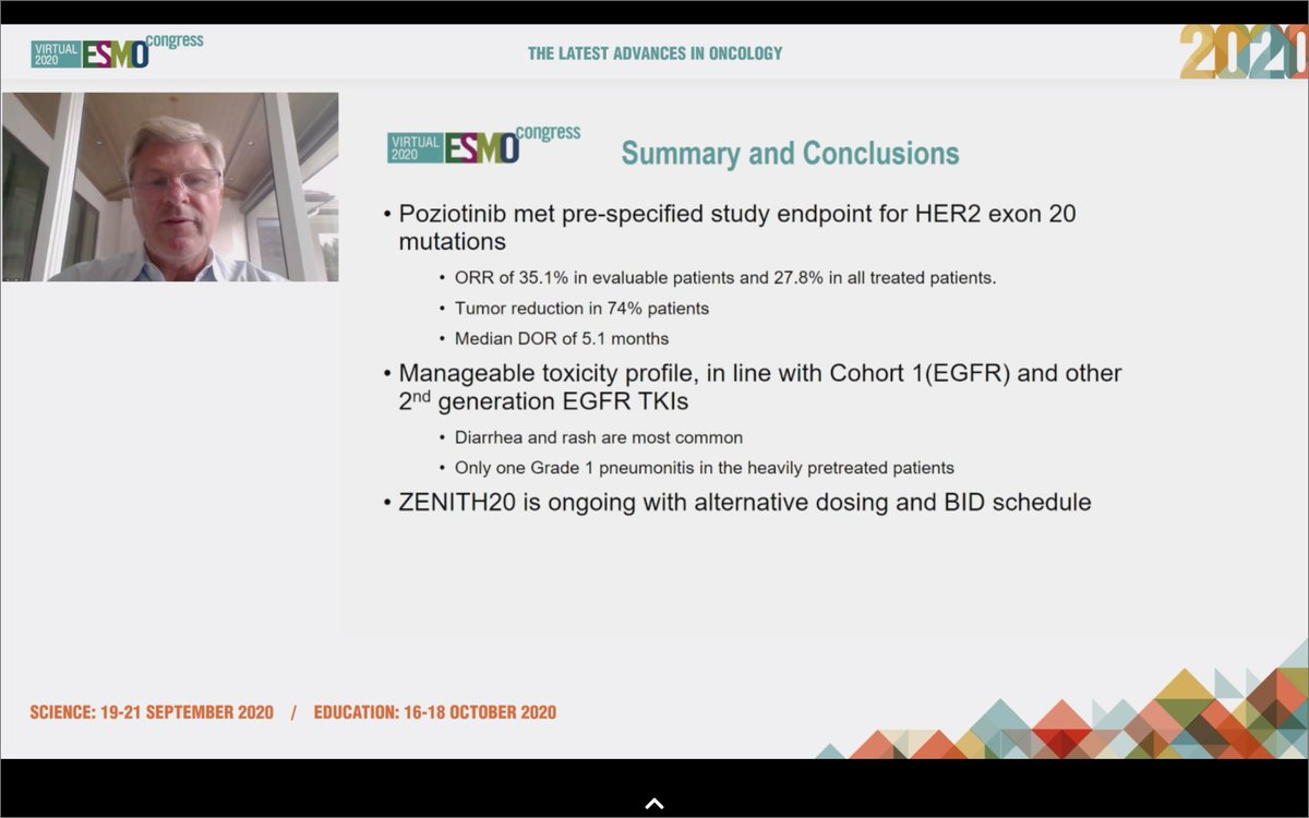#ESMO20 Overall, poziotinib has some activity in #HER2 mutant NSCLC. RR 27.8% with median DOR of 5.1 months. Delivery limited by toxicity though, with frequent interruptions/dose reductions. The trial continues but with alternative dosing and BID schedule which may help. #LCSM https://t.co/ifXul6DTFG