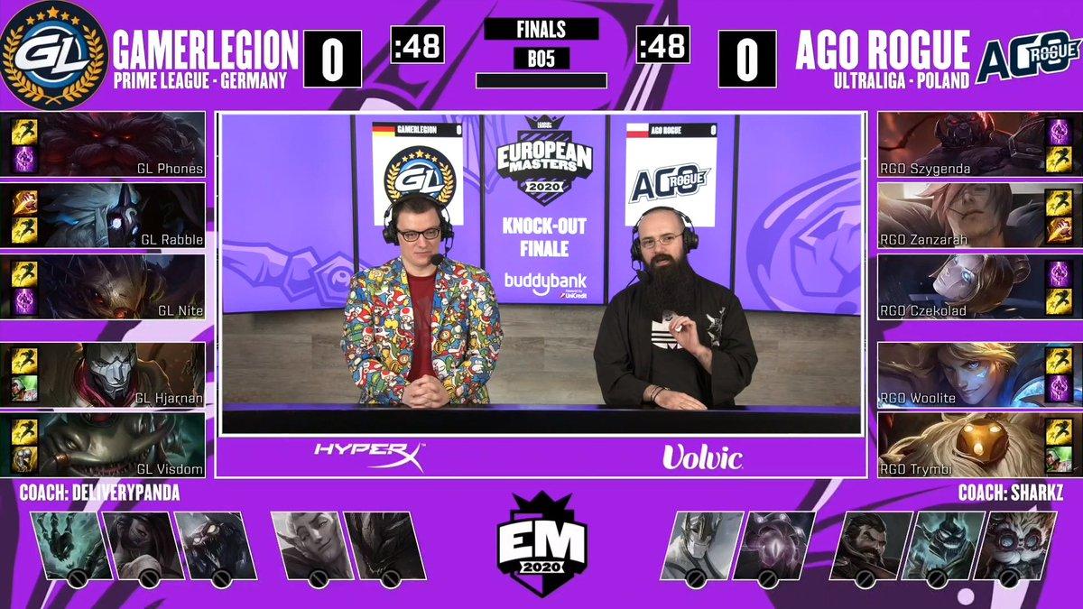 Inizia adesso, in diretta su https://t.co/NwzYiDBmaR, la prima partita della Finale tra @GamerLegion e @agorogue.  #EUMasters  @mybuddybank https://t.co/iZUsVmt9om