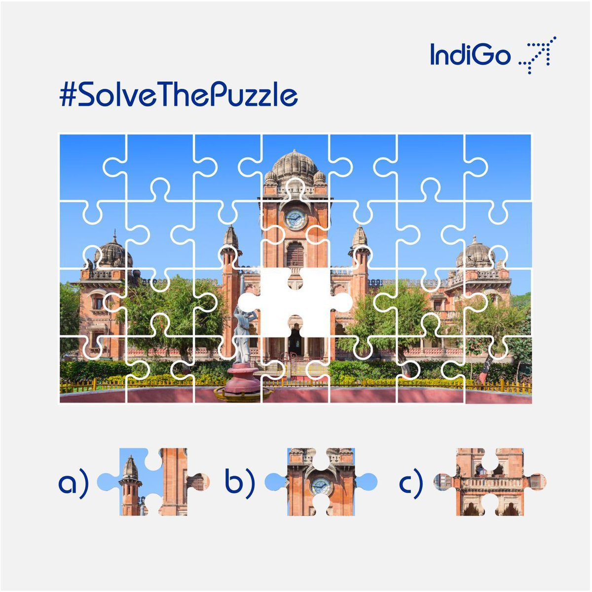 Guess which missing piece is central to this towering architectural beauty and complete the picture for us! #SolveThePuzzle #puzzle #LetsIndiGo https://t.co/XQnzZpMHmM