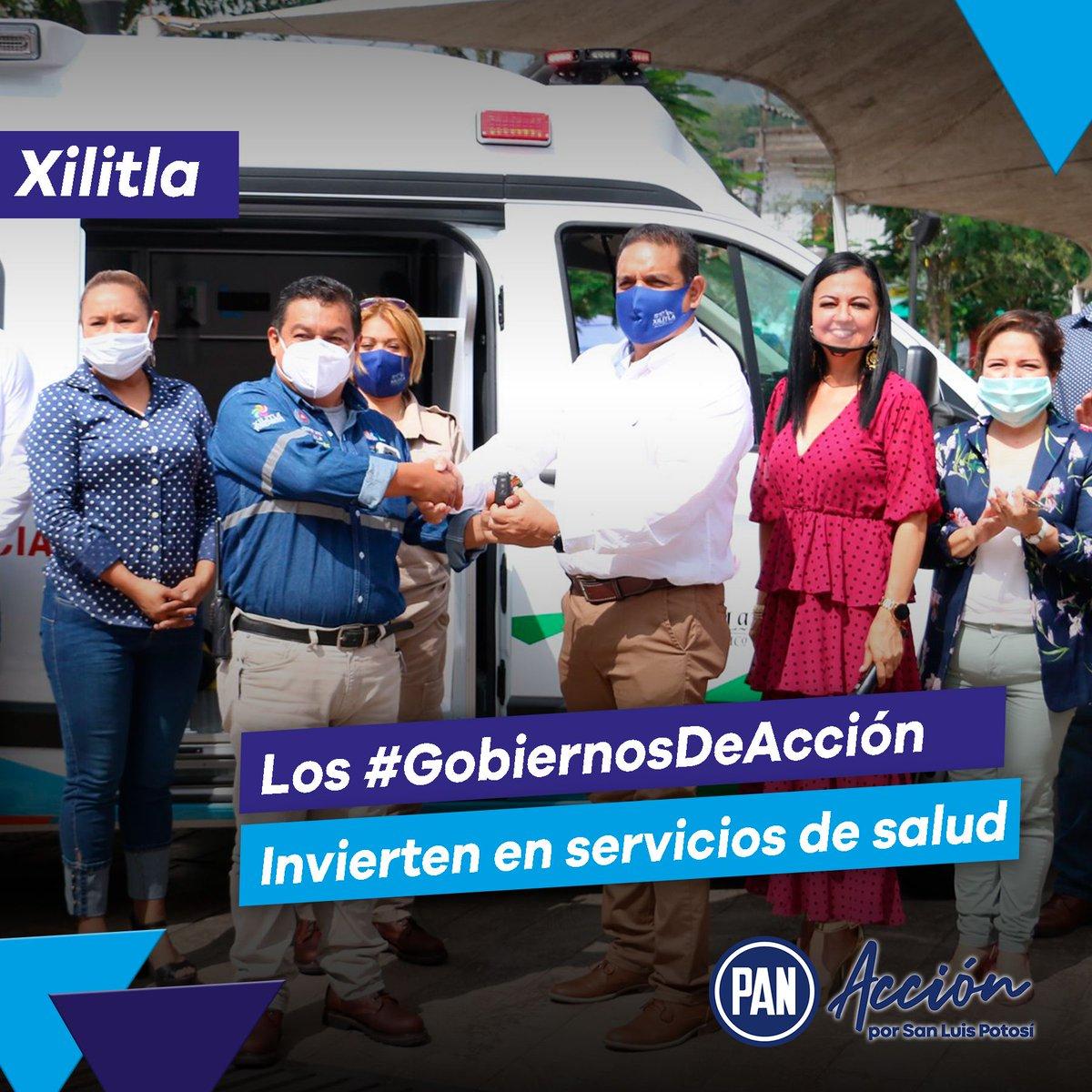 Los Gobiernos panistas son aquellos que cuidan la salud de todos y todas 👍🙌  En Xilitla los #GobiernosDeAcción adquirieron una ambulancia a disposición de la Dirección de Protección Civil, para cuidar la salud de las y los ciudadanos 🔵👏 https://t.co/eRPe0y8RNc