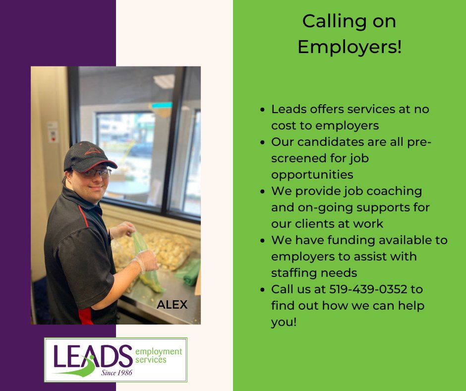 Let Leads help you fill your staffing needs!  We have offices in London, Strathroy, Owen Sound, Sarnia, Stratford, St. Thomas and Woodstock.  We also provide services to smaller communities within the counties.  #ldnont #Employment #Disability #inclusion https://t.co/Dy6vTLINAk