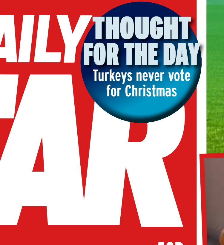 STAR THOUGHT FOR THE DAY: Turkeys never vote for Christmas #tomorrowspaperstoday  🦃🦃🦃 https://t.co/jhqRIZ0sBL