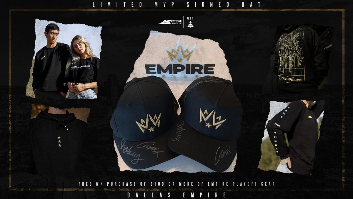 Wearing a @DallasEmpire hat signed by @Shotzzy and @Crimsix will guarantee that Cold War is your year 🔥 Order over $100 from the #TakeTheThrone capsule and secure your very own! bit.ly/3iPlHQ8