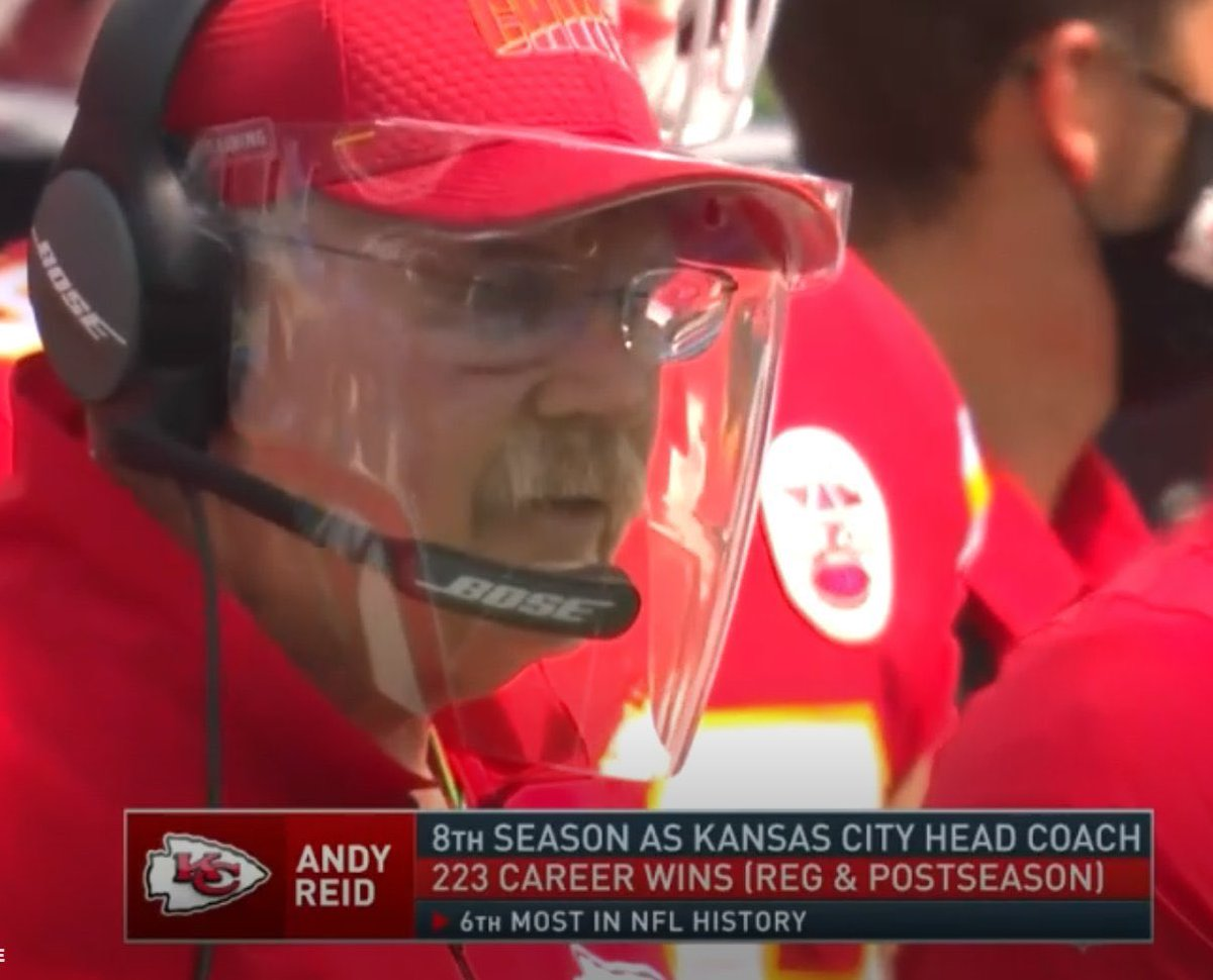 Maybe Andy Reid is better with the foggy face shield. #KCvsLAC https://t.co/1KbISWzSdG