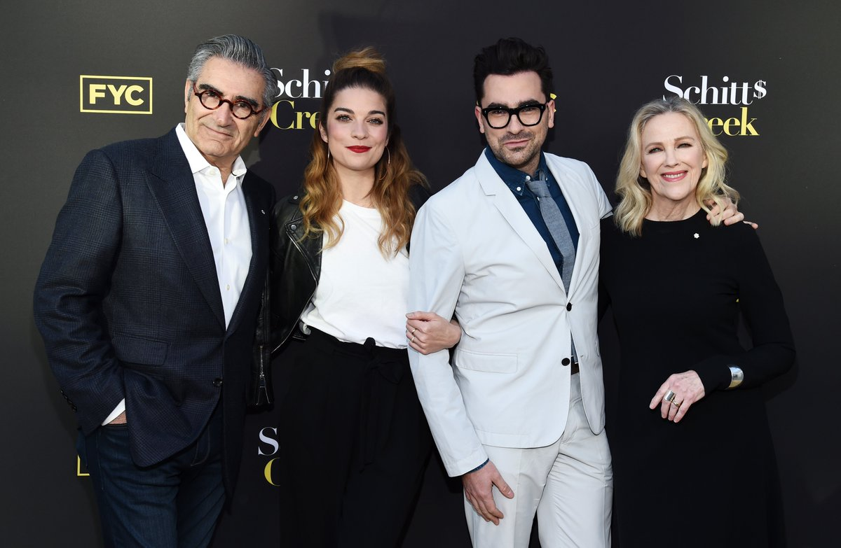 In the wise words of Roland Schitt, if you're looking for an a— to kiss, it's theirs. #1 goes to our #Emmys First Family, #SchittsCreek stars Eugene Levy, Annie Murphy, Daniel Levy & Catherine O'Hara. ❤️